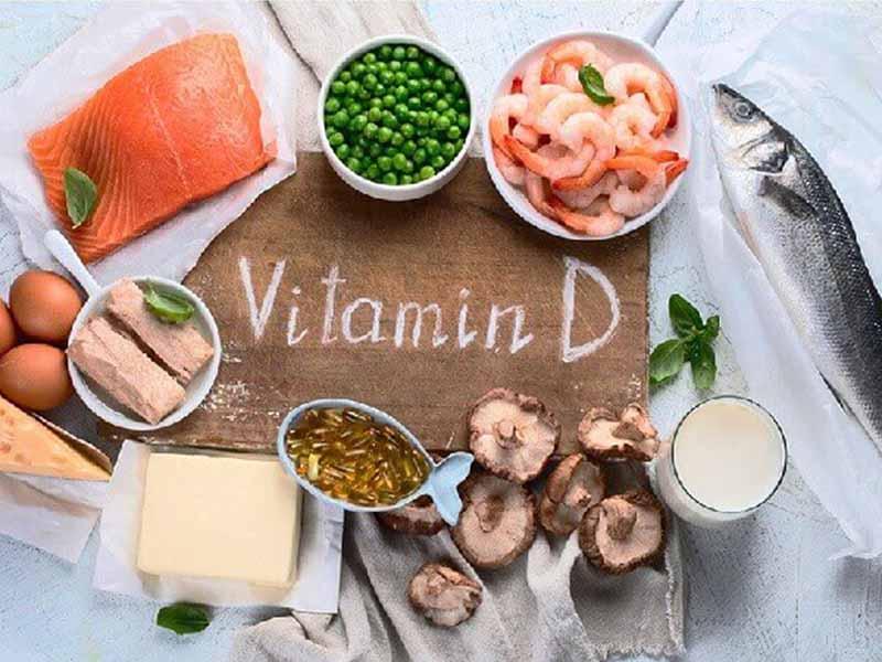 Vitamin D có chứa nhiều trong các loại cá béo, nấm, nước cam, ngũ cốc, gan bò,...