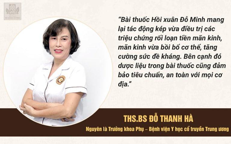 Thạc sĩ.BS Đỗ Thanh Hà đánh giá cao bài thuốc Hồi xuân Đỗ Minh