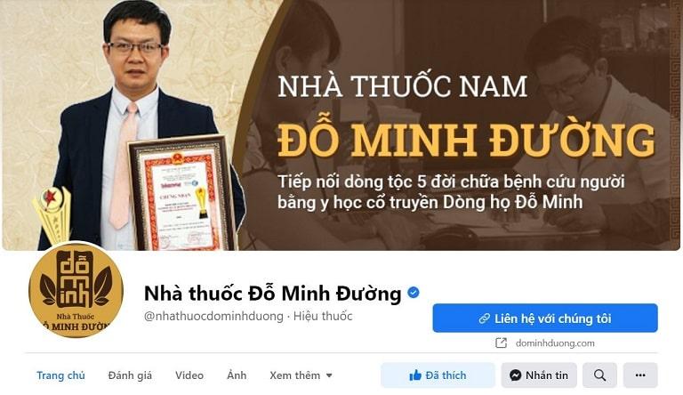 Hình ảnh fanpage chính thức Nhà thuốc Đỗ Minh Đường có tích xanh