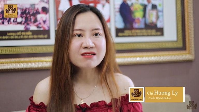 Chị Hương Ly trong 1 lần thăm khám tại nhà thuốc Đỗ Minh Đường đã chia sẻ về bệnh lý và quá trình điều trị của mình